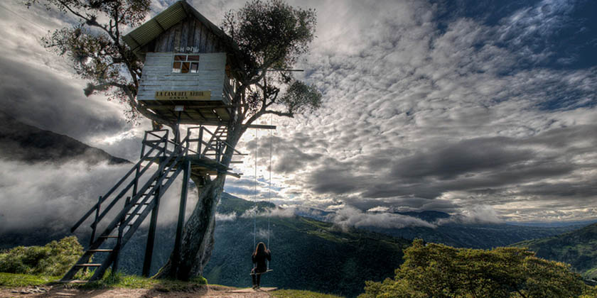the tree house in baos ecuador is the best spot to watch the tungurahua volcano in